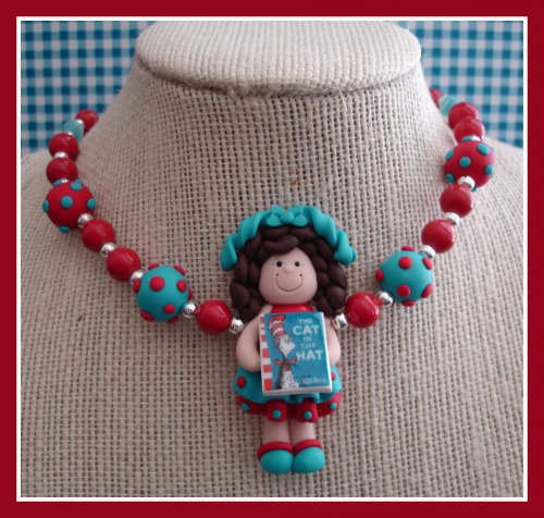 Book Club Girl Necklace - Cat in the Hat