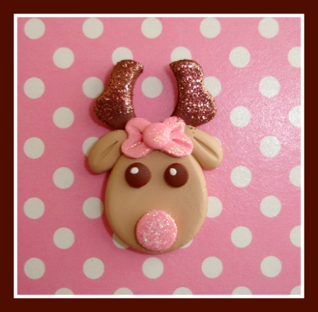 Pink Girly Glitter Reindeer